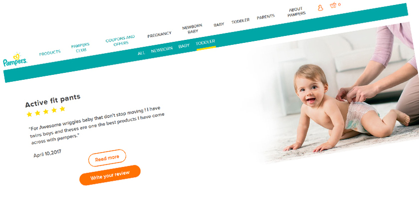 Submit your reviews on Pampers.co.uk